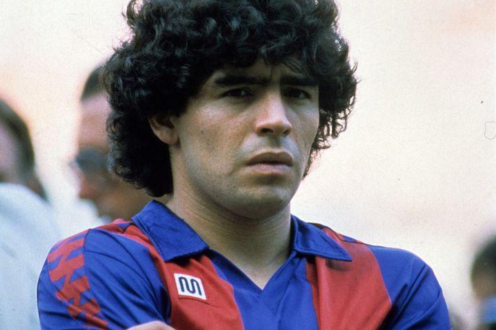 Diego Armando Maradona í búningi Barcelona áirð 1983.