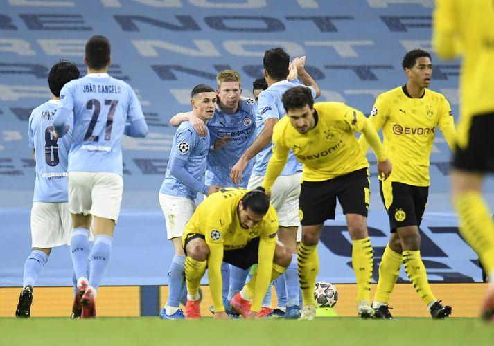 Kevin De Bruyne skoraði fyrra mark Manchester City í kvöld.