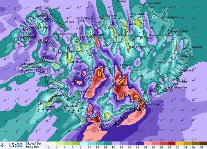Vindaspá Veðurstofunnar fyrir klukkan 15 í dag.