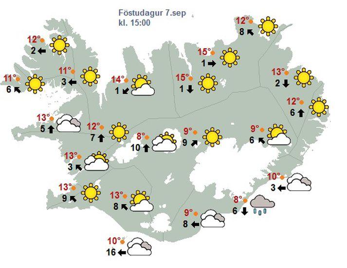 Hið fínasta spákort fyrir daginn.
