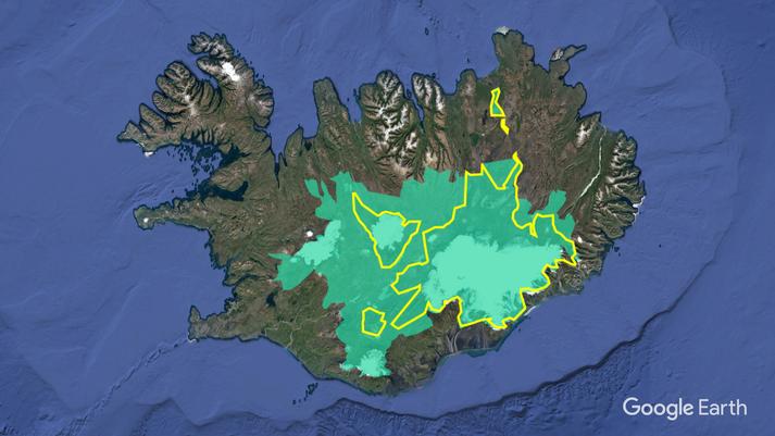Ljósgræna svæðið sýnir tillögu stjórnvalda um nýjan Hálendisþjóðgarð en gulu línurnar marka núverandi þjóðgarða.