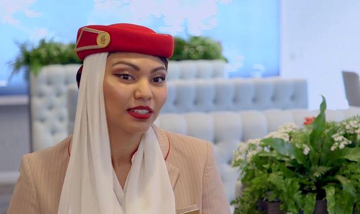 Siti Nurazlin segir frá því hvernig lífið er sem flugfreyja hjá Emirates.