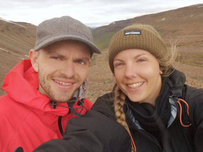 Maren Ueland ásamt vini sínum á ferð þeirra um Ísland í fyrra.