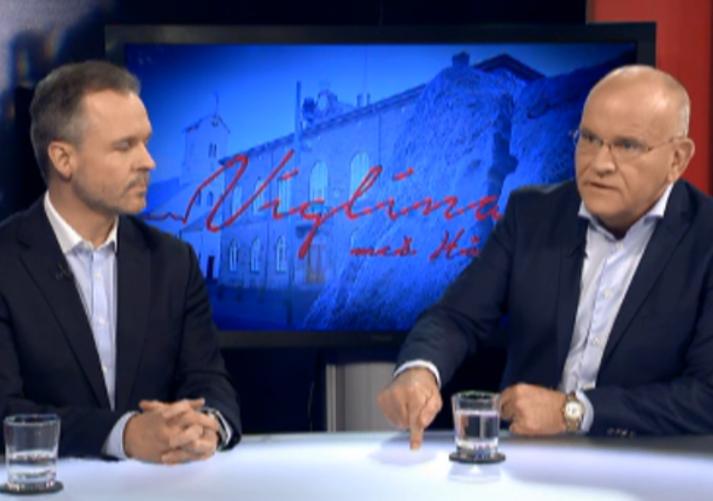 Björgvin Guðmundsson og Páll Magnússon ræddu rekstrarumhverfi fjölmiðla í Víglínunni í dag.