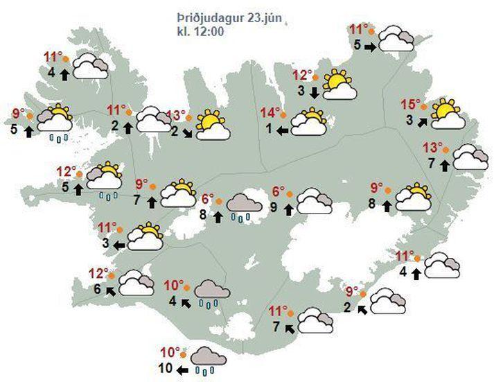 Talsverð rigning á Suðausturlandi í kvöld og nótt, en annarsstaðar dregur úr úrkomu.