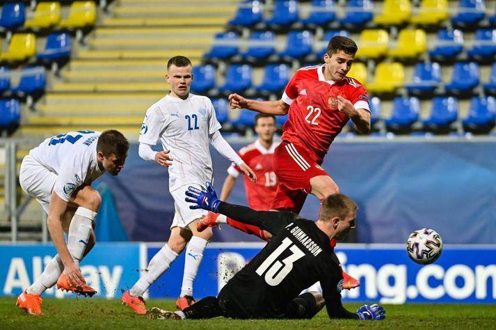 Kolbeinn Þórðarson var í byrjunarliði Íslands í fyrsta leiknum á EM þar sem íslenska liðið mátti þola skell gegn Rússum, 4-1.