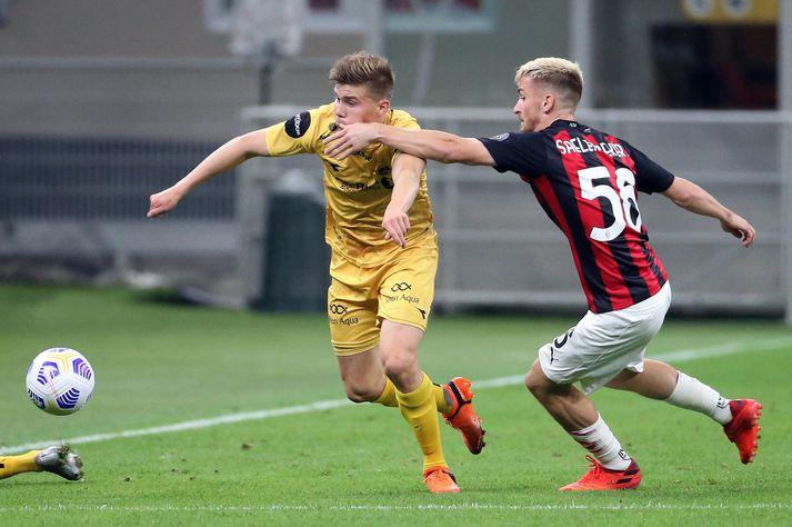 Alfons hefur vart getað látið sig dreyma um árangurinn á sínu fyrsta tímabili í Noregi. Hér er hann í Evrópuleik gegn AC Milan.