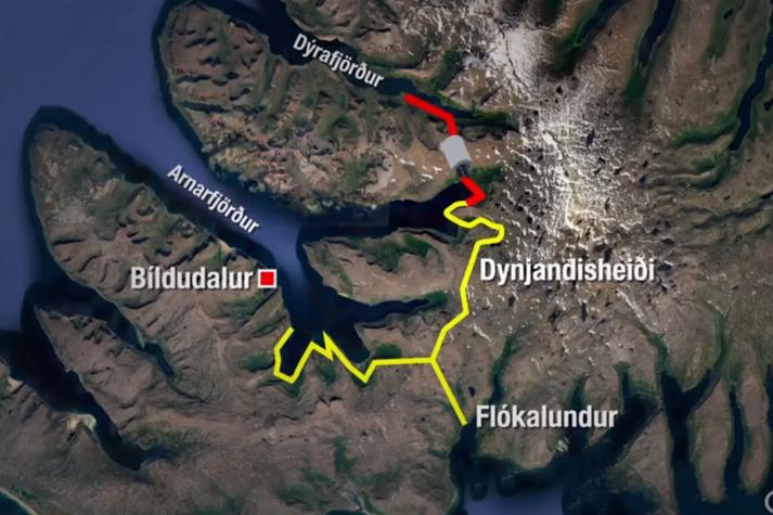 Dýrafjarðargöng, án heilsársvegar um Dynjandisheiði, hafa verið nefnd dýrasti botnlangi Íslands.