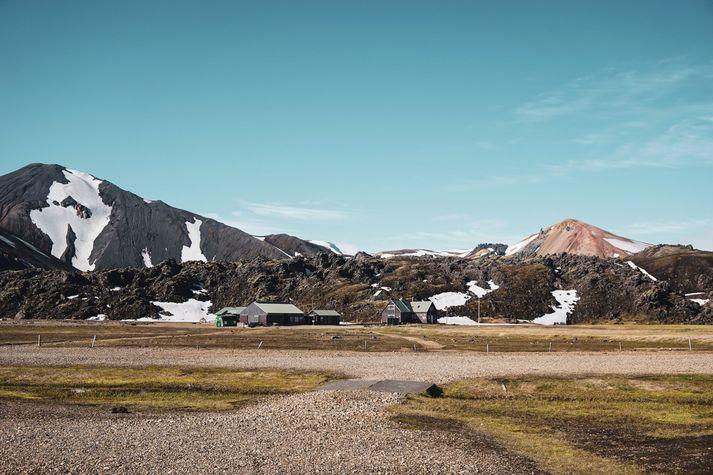 Mynd sem tekin var við Landmannalaugar í morgun.