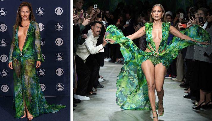 Jennifer Lopez árið 2000 til vinstri, Jennifer Lopez árið 2019 til hægri.