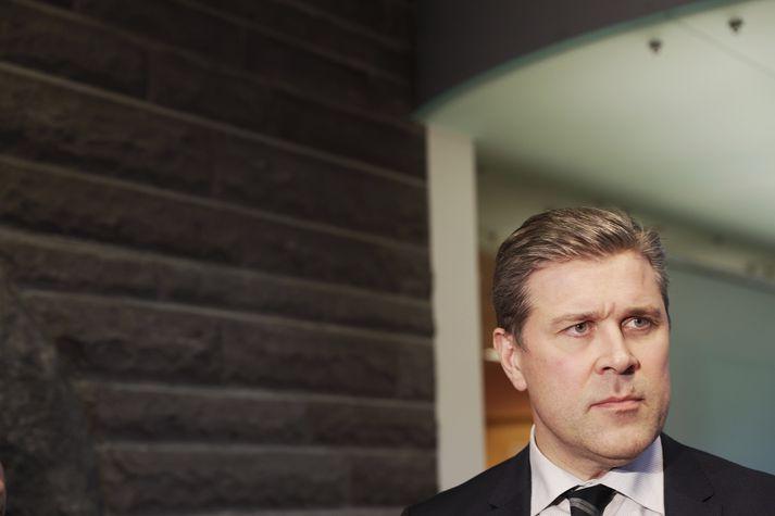 Bjarni Benediktsson ræddi við fjölmiðla í þinghúsinu í dag.