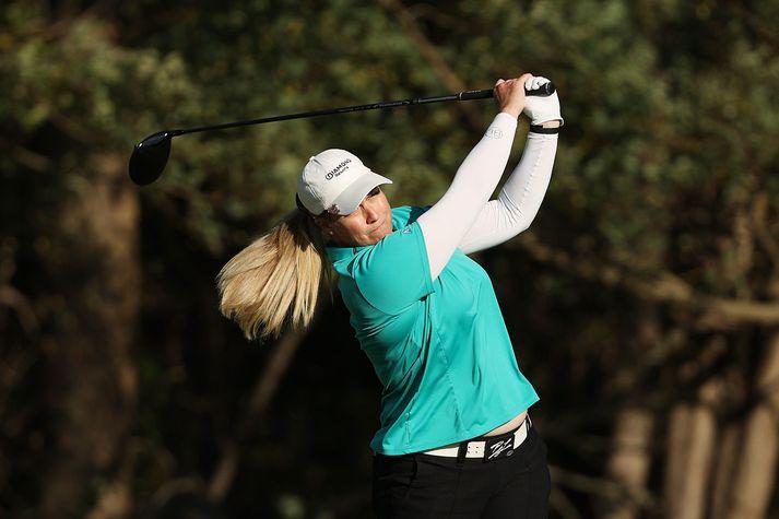 Brittany Lincicome lék vel á fyrsta hring KPMG Women's PGA Championship í gær.