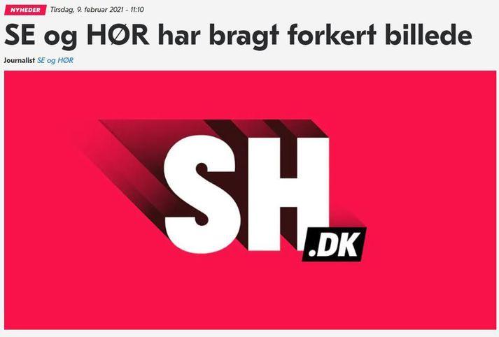 Fréttin á vef Se og Hør í dag þar sem mistökin eru viðurkennd.