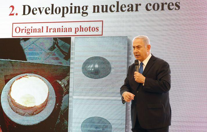 Frá blaðamannafundi Netanyahu.